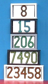 stack of horizontal LEDress house number displays