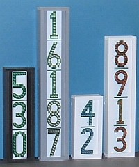 LEDress illuminated house numbers showing 2, 3, 4, and 5-digit vertical models