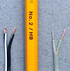 wire size compared to a pencil width